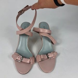Pink Fiona Ankle Strap Wedges
